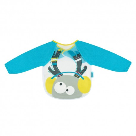 Babero manga larga ciervo, azul